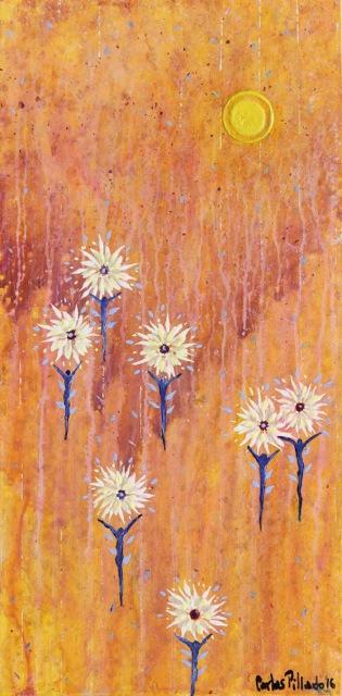 painting acrylic inner light flying men flowers