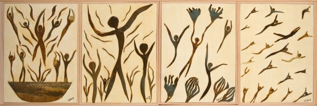 Children of life . Acrylic, canvas on canvas. Series of four. 20x30 each