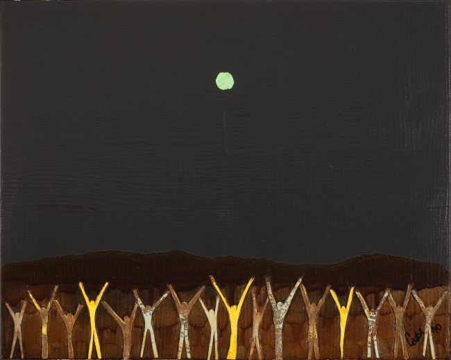 Somedays begin at nightfall. Acrylic, canvas on canvas. 24x30.